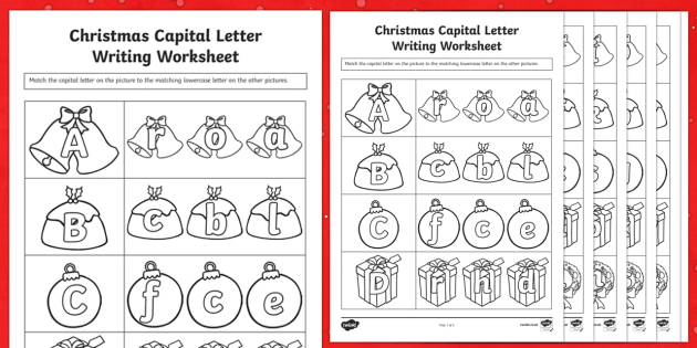 Christmas Themed Capital Letter Matching Worksheet - worksheets