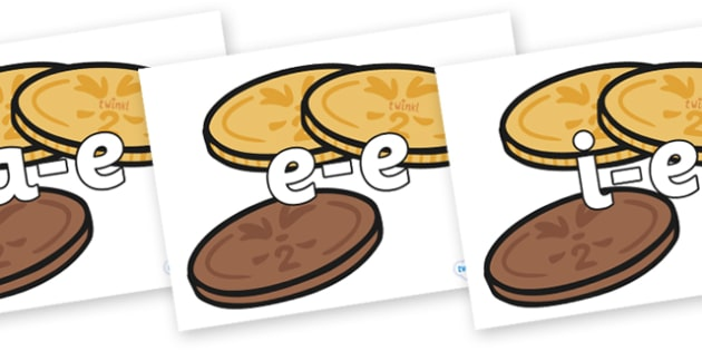 Modifying E Letters on Chocolate Coins - Modifying E, letters, modify, Phase 5, Phase five, alternative spellings for phonemes, DfES letters and Sounds