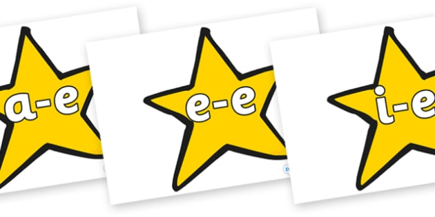 Modifying E Letters on Stars (Plain) - Modifying E, letters, modify, Phase 5, Phase five, alternative spellings for phonemes, DfES letters and Sounds