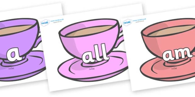 Foundation Stage 2 Keywords on Cups - FS2, CLL, keywords, Communication language and literacy,  Display, Key words, high frequency words, foundation stage literacy, DfES Letters and Sounds, Letters and Sounds, spelling