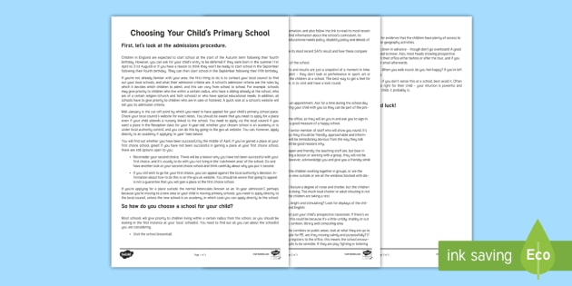 Choosing Your Child's Primary School Parent and Carer Information Sheet - parents, advice, schools, primary, school visits