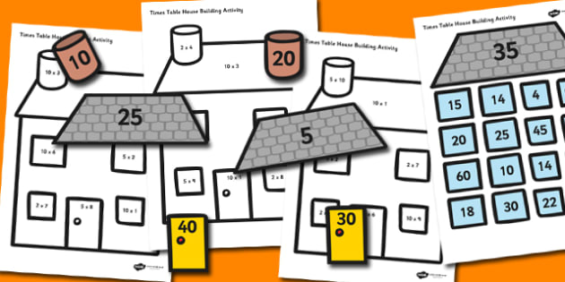 2-5 and 10 Times Table Active Picture Building Activity House - Times tables, multiply