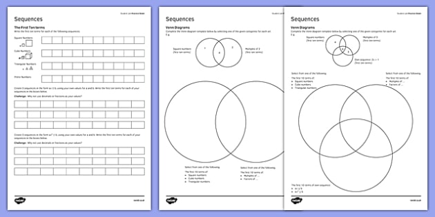 KS3_KS4 Maths Student Led Practice Sheets Sequences - maths, KS3, KS4, GCSE, worksheet, practise, independent, growth mindset, algebra, sequences, prime numbers, triangular numbers, cube numbers, multiples, factors, venn diagram