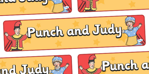 Punch And Judy Display Banner - punch and judy, display, banner, sign, poster, characters, puppet, puppet show, puppets
