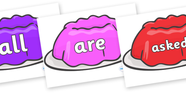 Tricky Words on Jelly - Tricky words, DfES Letters and Sounds, Letters and sounds, display, words