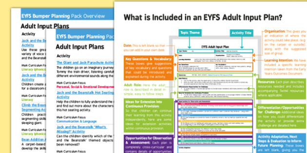 EYFS Jack and the Beanstalk Bumper Planning Pack Overview