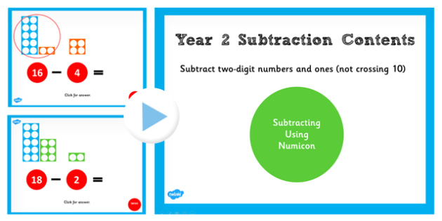 Year 2 Subtracting 2 Digit Numbers and Ones Not Crossing 10