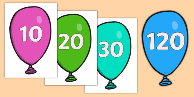 Counting in 10s on Balloons - Counting, Numberline, Number line, Counting on, Counting back, even numbers, foundation stage numeracy, counting in 2s