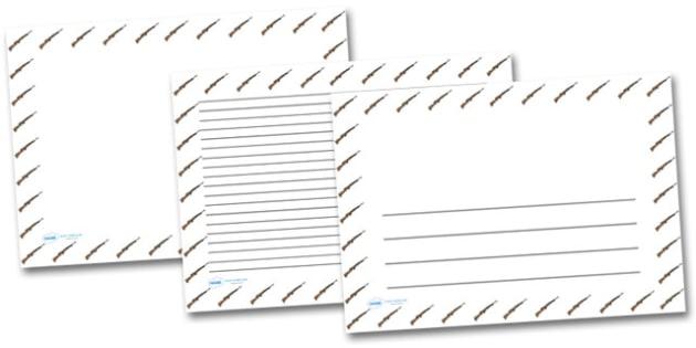 WW2 Rifle Landscape Page Borders- Landscape Page Borders - Page border, border, writing template, writing aid, writing frame, a4 border, template, templates, landscape
