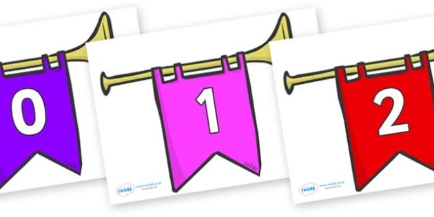 Numbers 0-31 on Banners - 0-31, foundation stage numeracy, Number recognition, Number flashcards, counting, number frieze, Display numbers, number posters