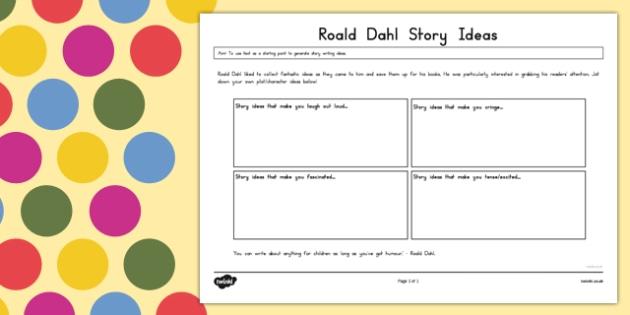 Roald Dahl Story Ideas Collection Worksheet - australia, roald dahl, story