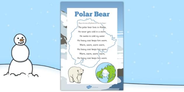Polar Bear Rhyme - winter, arctic, Antarctic, polar, polar bears, rhyme