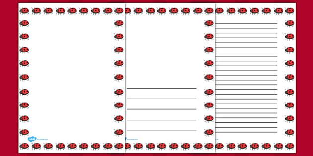 Ladybug Full Page Borders - page borders, Ladybug page borders, ladybird borders for page, minibeast page borders, A4, border for page, lined pages