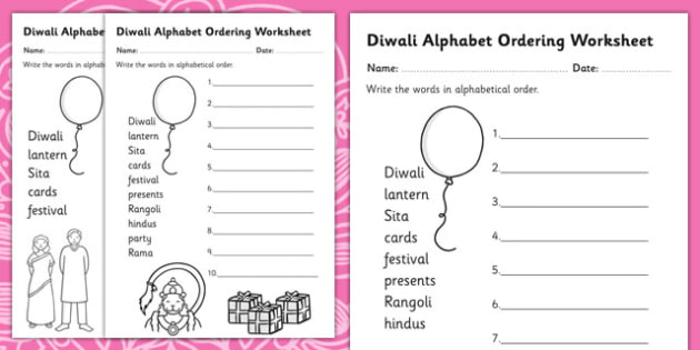 Diwali Alphabet Ordering Worksheet - order, sort, hinduism, RE