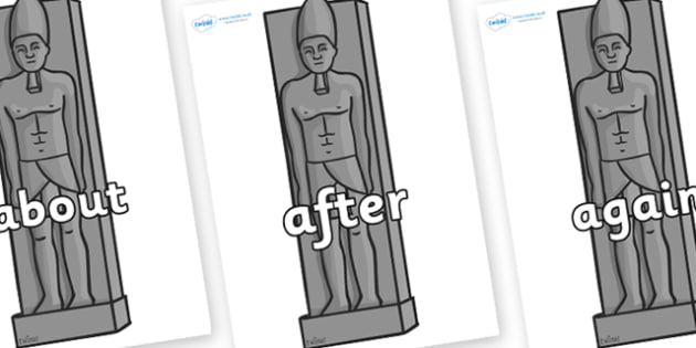 KS1 Keywords on Egyptain Statues - KS1, CLL, Communication language and literacy, Display, Key words, high frequency words, foundation stage literacy, DfES Letters and Sounds, Letters and Sounds, spelling