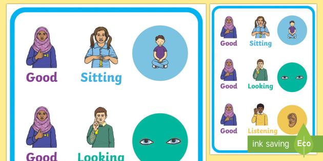 British Sign Language Good Sitting Looking Display Posters Pack - SEN, visual prompts, BSL
