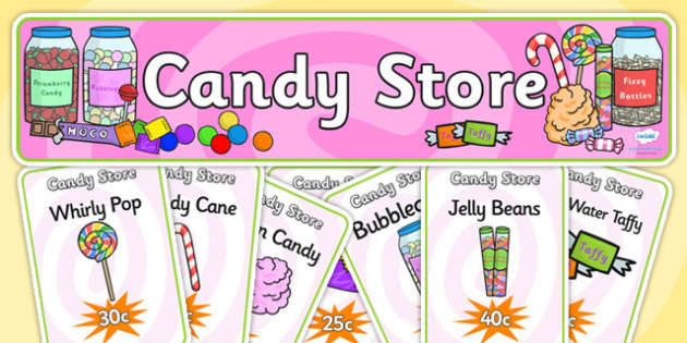 Candy Store Role Play Pack-candy store, role play, candy store pack, role play pack, role play materials, shop role play, activities, games
