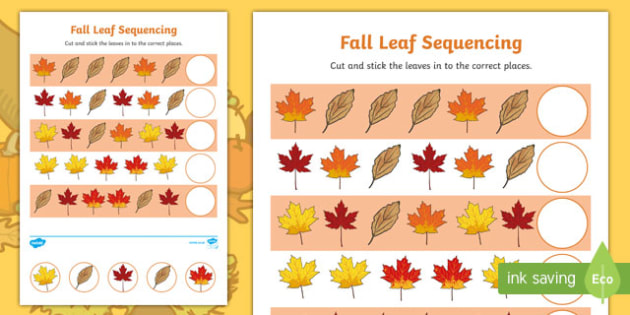 Fall Leaf Sequencing Activity Sheet