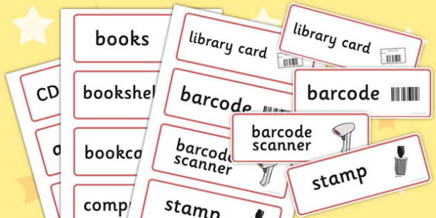 Library Role Play Word Cards - library, books, book, word card, flashcards, fiction, non-fiction, reading, card, librarian, shalves, labels, label