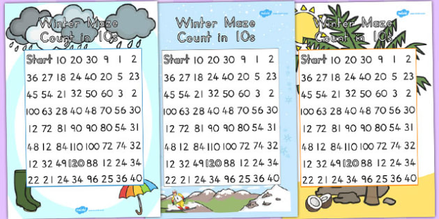 Winter Counting in 10s Maze Worksheet Temperate - count, maths