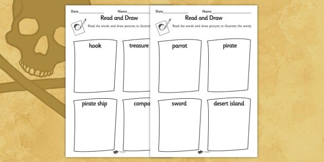 Pirates Read and Draw Worksheet - pirate, reading, drawing, game