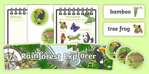 Rainforest Explorer Role Play Pack - rainforest, explorer, role play, pack, resources, snake, forest, ecosystem, rain, humid, parrot, monkey, gorilla