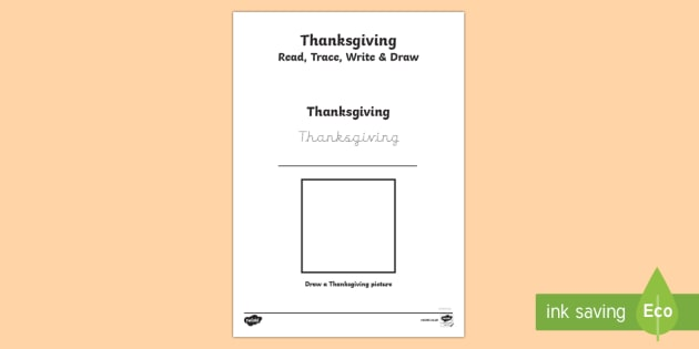 Thanksgiving Read, Trace, Write and Draw Activity Sheet - Thanksgiving worksheet
