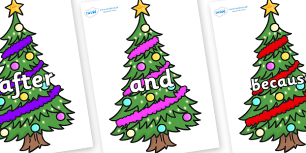 Connectives on Christmas Trees (Decorated) - Connectives, VCOP, connective resources, connectives display words, connective displays