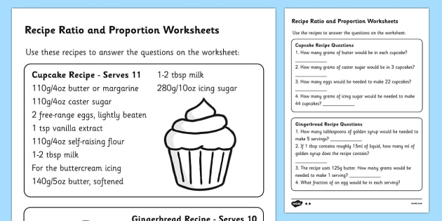 Recipes Ratio and Proportion Worksheet - ratio and proportion, ratio worksheet, proportion worsksheet, recipe worksheet, ratios in recipes, ks2 maths