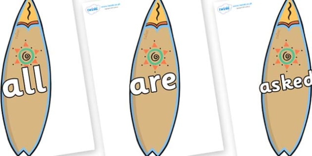 Tricky Words on Surf Boards - Tricky words, DfES Letters and Sounds, Letters and sounds, display, words