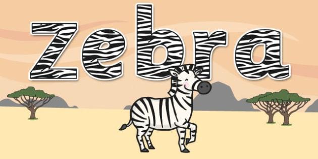'Zebra' Display Lettering - safari, safari lettering, safari display lettering, safari display words, zebra display lettering, zebra letters, zebra