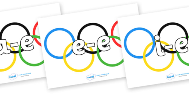 Modifying E Letters on Olympic Rings - Modifying E, letters, modify, Phase 5, Phase five, alternative spellings for phonemes, DfES letters and Sounds