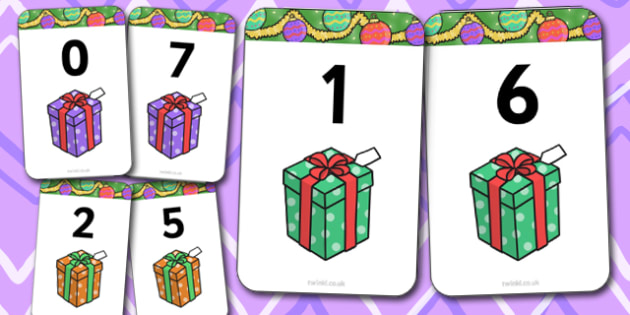 Number Bonds to 7 Present Matching Cards Activity - christmas