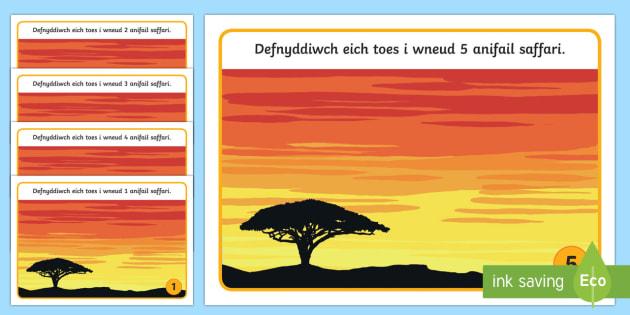 Machlud ar y Saffari Mat Toes - Dysgu Cymraeg fel Ail Iaith, Affrica, saffari, toes chwarae, cyfnod sylfaen, Cymraeg, iaith, anifeil