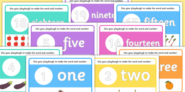 Numbers 0-20 Words Counting Playdough Mats - numbers, counting, playdough, mats