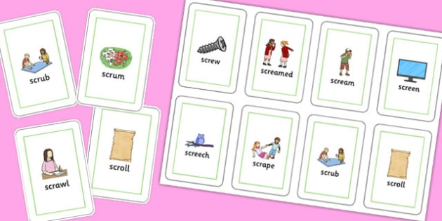 SCR Playing Cards - speech sounds, phonology, articulation, speech therapy, cluster reduction, complex clusters, three element clusters