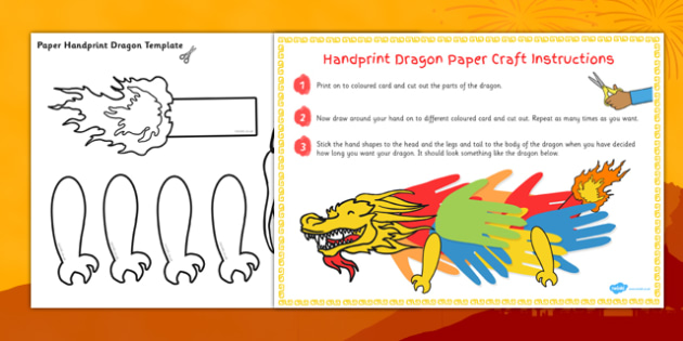 Chinese New Year Handprint Paper Dragon Craft - chinese, craft