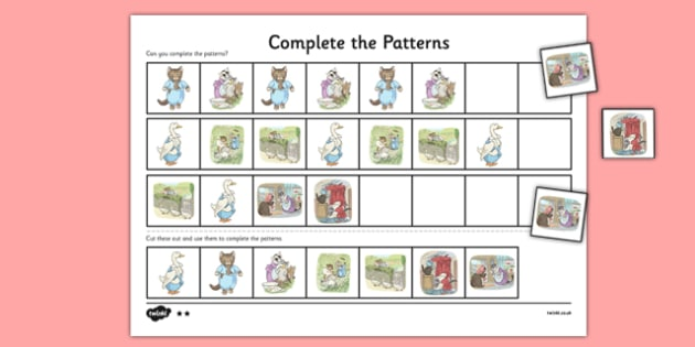 Beatrix Potter - The Tale of Tom Kitten Complete the Pattern Worksheets - beatrix potter, tom kitten