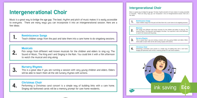 Intergenerational Choir Teaching Ideas - Intergenerational Ideas, Singing, Music, Choir, Children, Teachers, School, Ideas, Community, Suppor