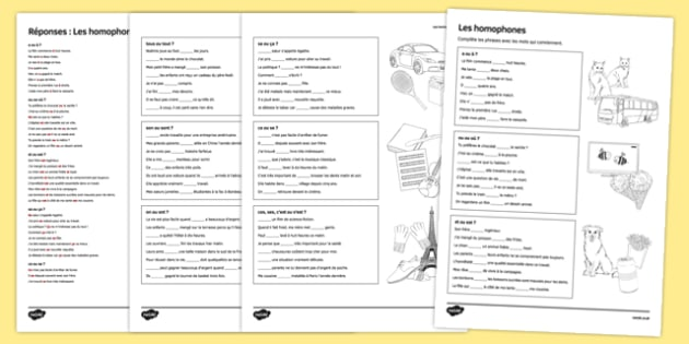 French Homophones Activity Sheet - French, worksheet
