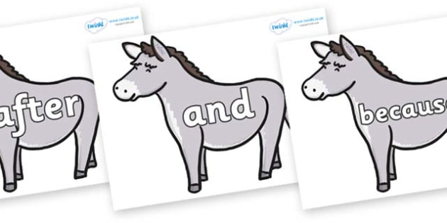 Connectives on Donkeys - Connectives, VCOP, connective resources, connectives display words, connective displays