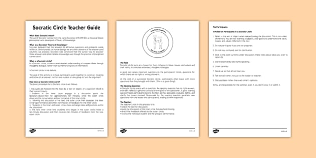 Socratic Circle Teacher Guide - socratic questioning, questioning, discussion, philosophy