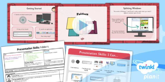 PowerPoint Presentation Skills: Folders - Year 2 Computing Lesson Pack