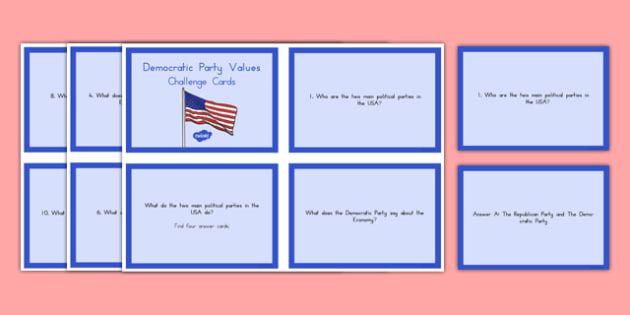 Democratic Party Values Challenge Cards