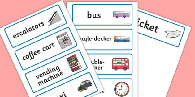Bus Station Role Play Word Cards - Bus role play, transport, word card, flashcards, writing aid, role play, buses, bus station, ticket