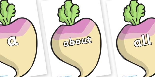 100 High Frequency Words on Turnips - High frequency words, hfw, DfES Letters and Sounds, Letters and Sounds, display words