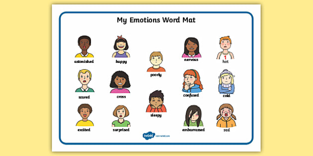 My Feelings Word Mat - Word mat, writing aid, emotions, Feelings, All about me, ourselves, feelings display, feelings banner, emotions display, expression, happy, sad, angry, scared