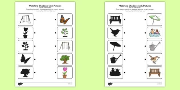 Garden Shadow Matching Worksheet Arabic Translation - arabic, garden, shadow matching, shadow, matching, outside