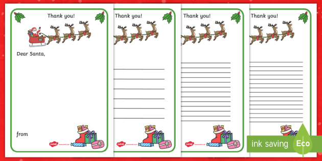 Thank You Letter To Santa Writing Template - Christmas, Letter