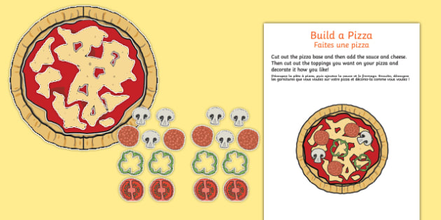 Pizza parlour build a pizza cut out activity English-French - Pizza Parlour Role Play Pack, pizza, hut, express, restaurant, dinner, eating, food, take, out, away